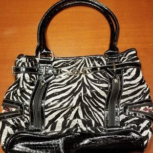 Sequence Black and White Animal Print Handbag